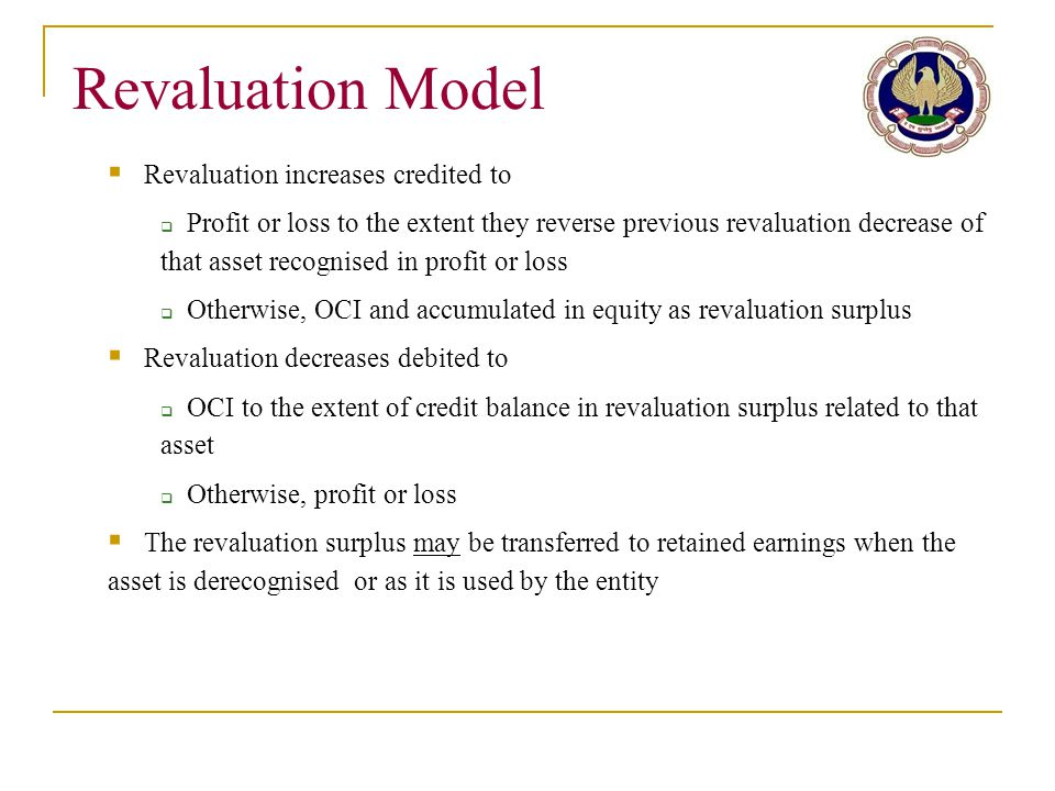 Revaluation Model Revaluation increases credited to