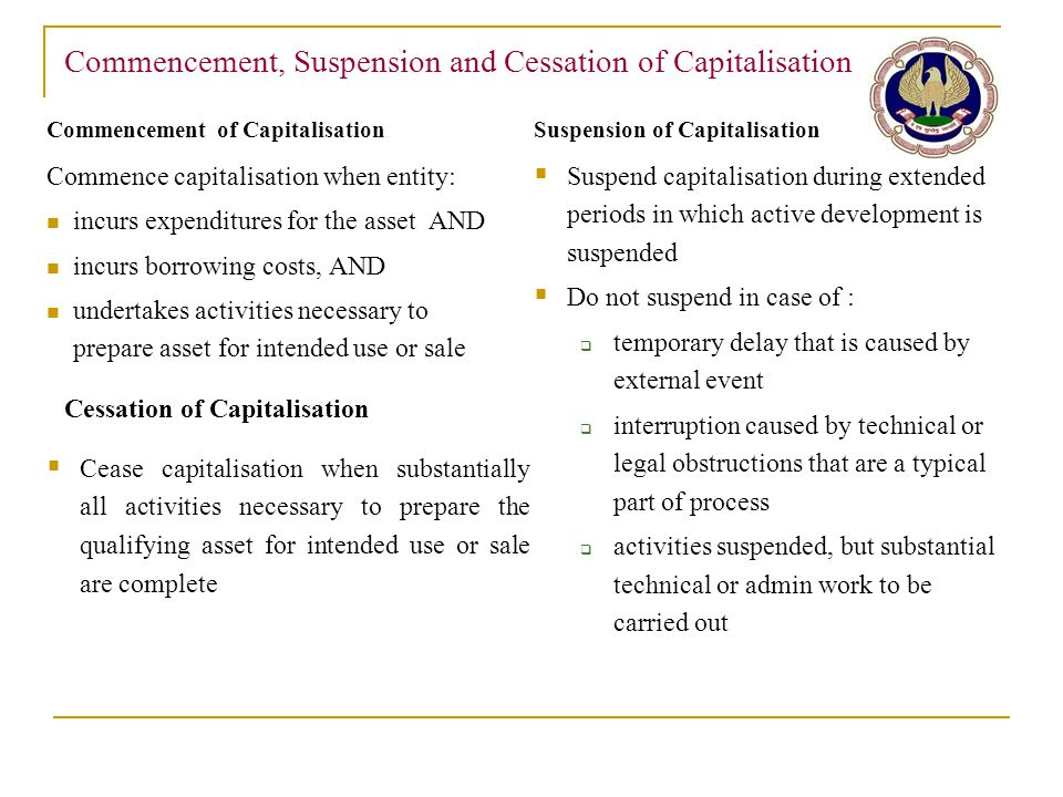 Commencement, Suspension and Cessation of Capitalisation