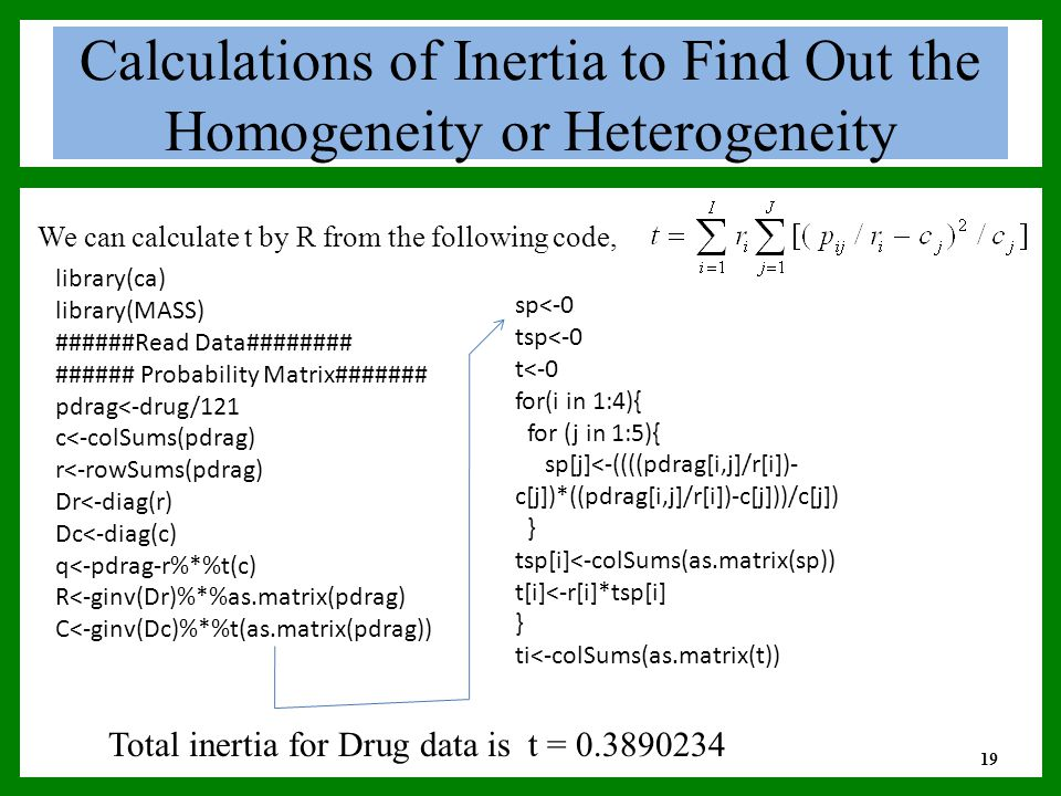 Calculations of Inertia to Find Out the Homogeneity or Heterogeneity