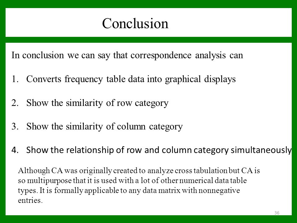 Conclusion In conclusion we can say that correspondence analysis can