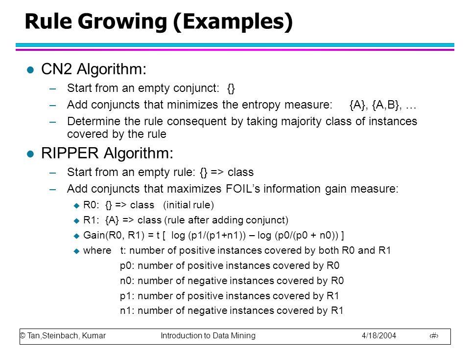 Rule Growing (Examples)