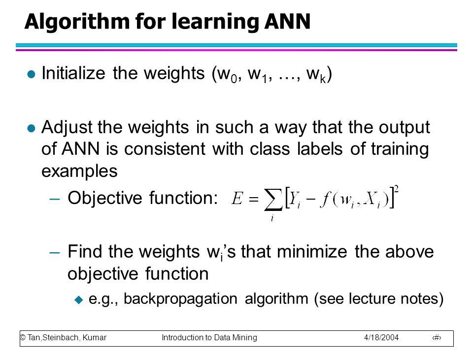 Algorithm for learning ANN