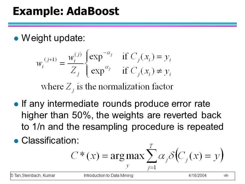 Example: AdaBoost Weight update:
