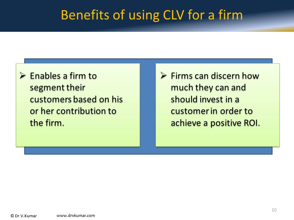 Benefits of using CLV for a firm