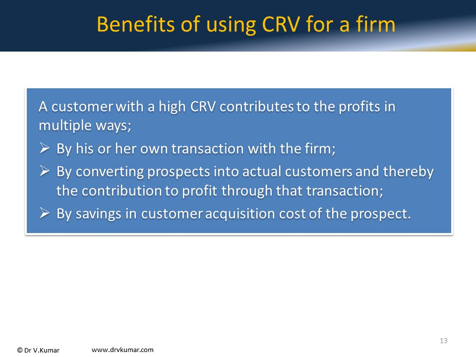Benefits of using CRV for a firm