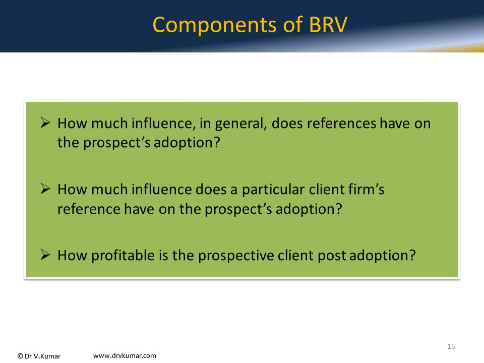 Components of BRV How much influence, in general, does references have on the prospect's adoption