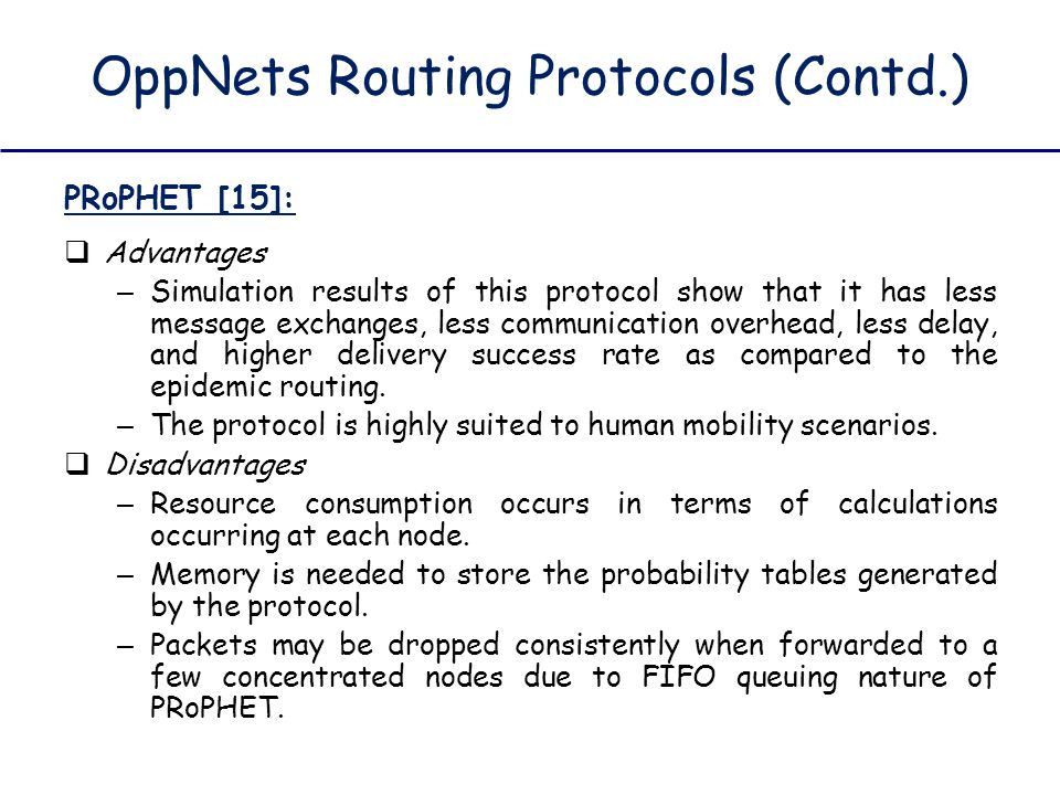 OppNets Routing Protocols (Contd.)