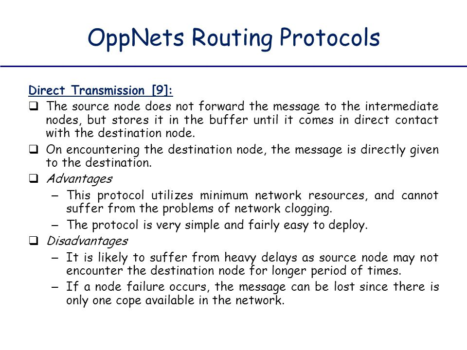 OppNets Routing Protocols