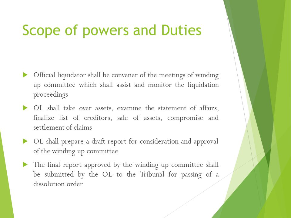 Scope of powers and Duties