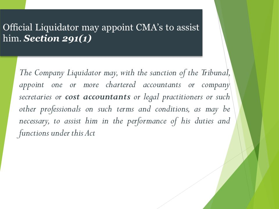 Official Liquidator may appoint CMA's to assist him. Section 291(1)