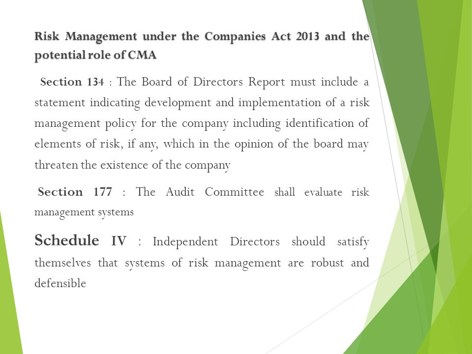 Risk Management under the Companies Act 2013 and the potential role of CMA