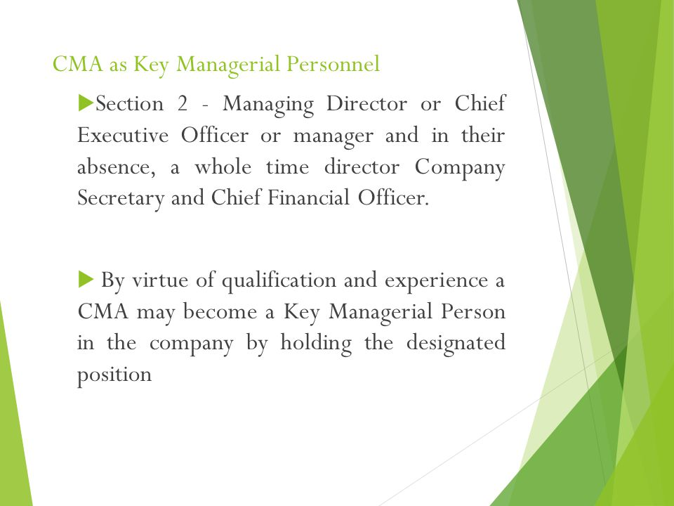 CMA as Key Managerial Personnel