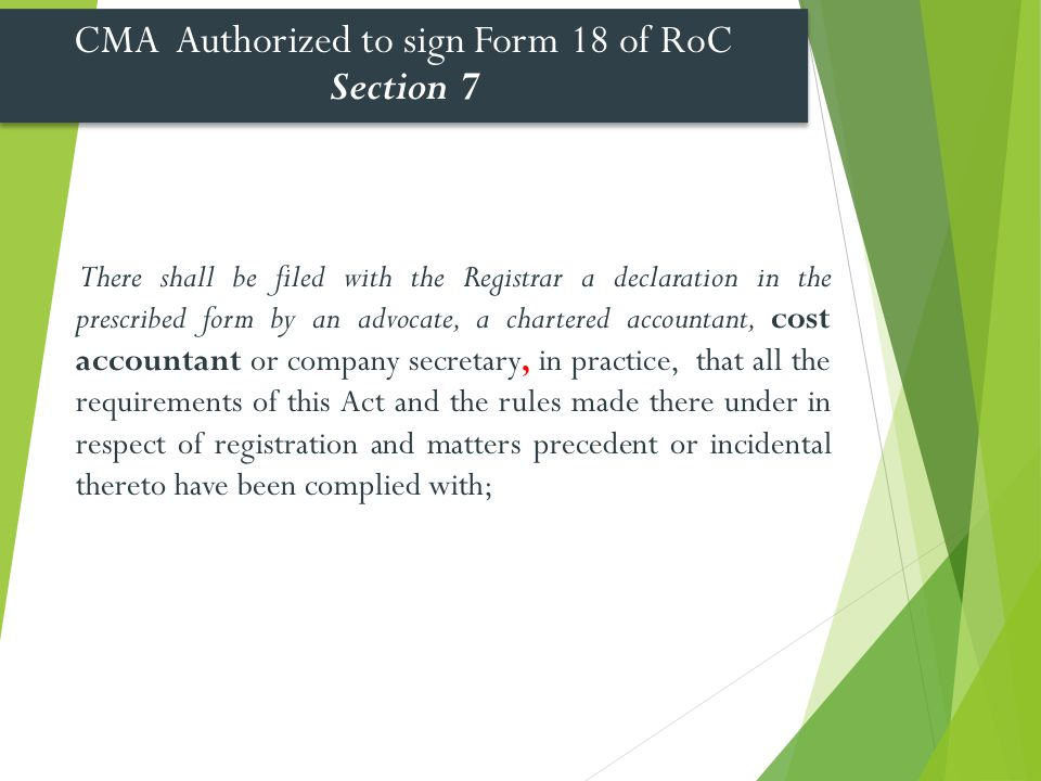 CMA Authorized to sign Form 18 of RoC