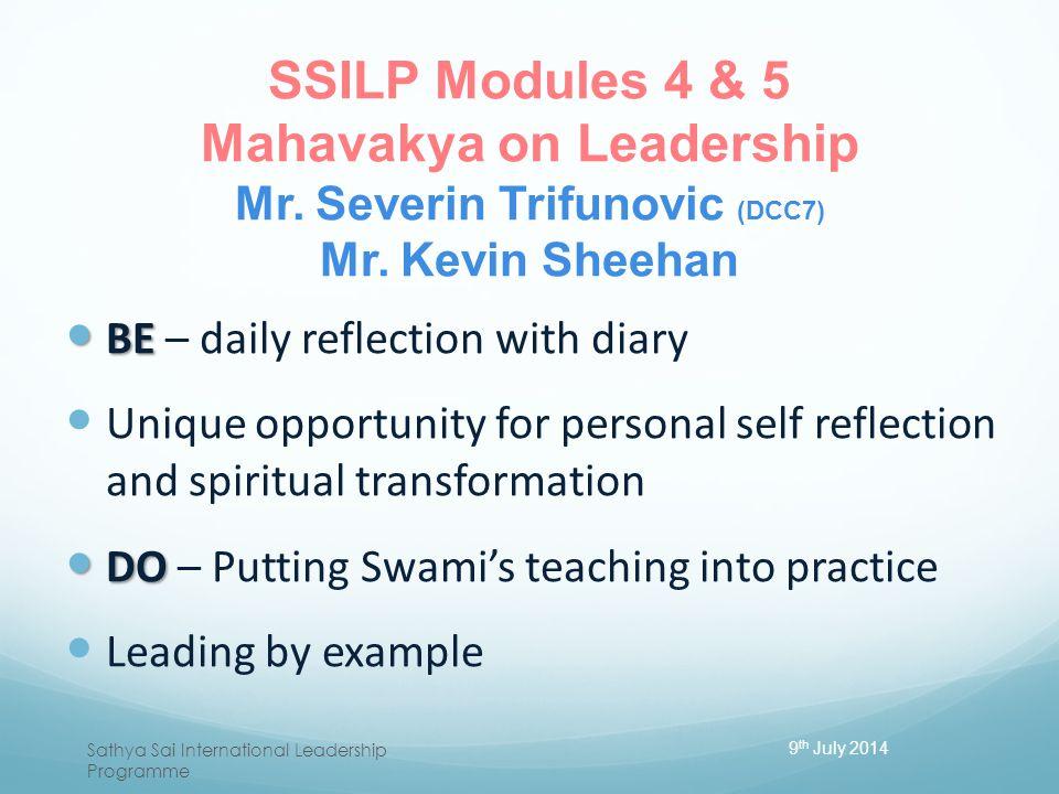 SSILP Modules 4 & 5 Mahavakya on Leadership Mr