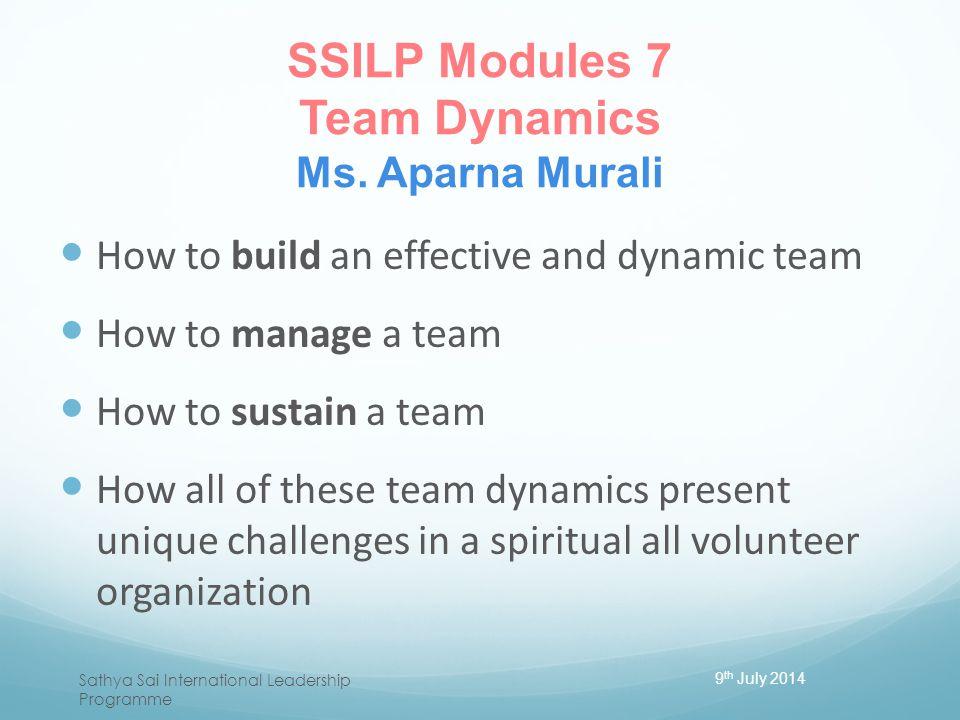 SSILP Modules 7 Team Dynamics Ms. Aparna Murali
