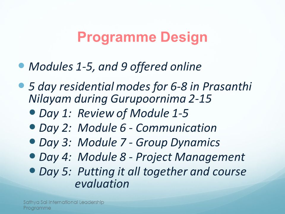 Programme Design Modules 1-5, and 9 offered online