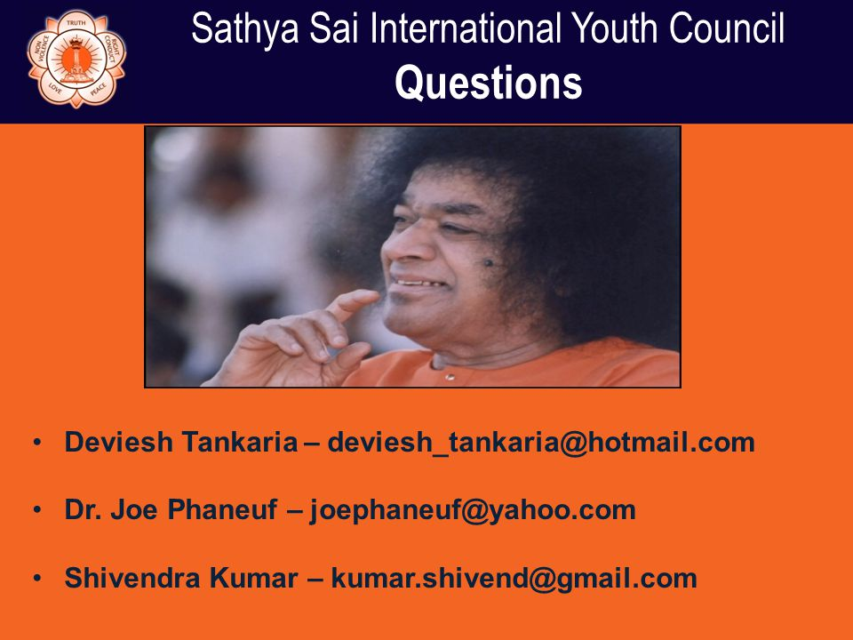 Sathya Sai International Youth Council Questions