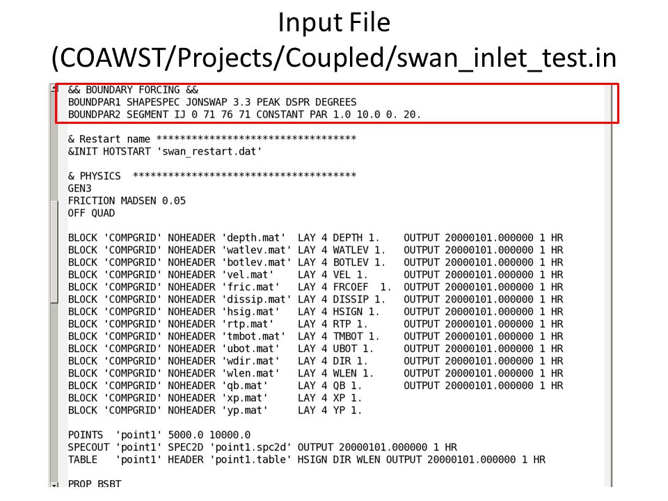 Input File (COAWST/Projects/Coupled/swan_inlet_test.in