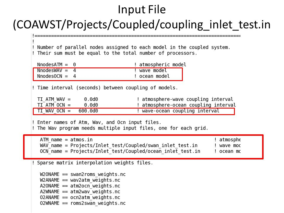Input File (COAWST/Projects/Coupled/coupling_inlet_test.in