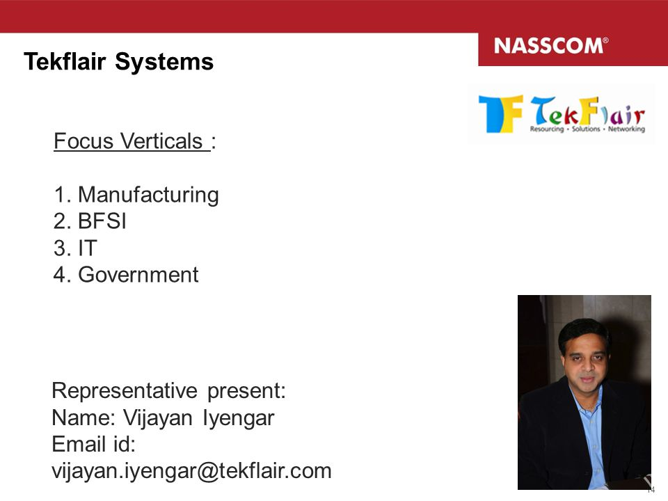 Tekflair Systems Focus Verticals : 1. Manufacturing 2. BFSI 3. IT