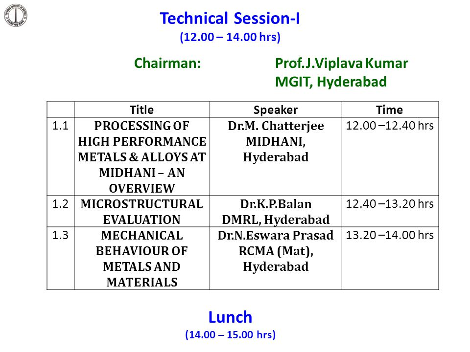 Technical Session-I Lunch