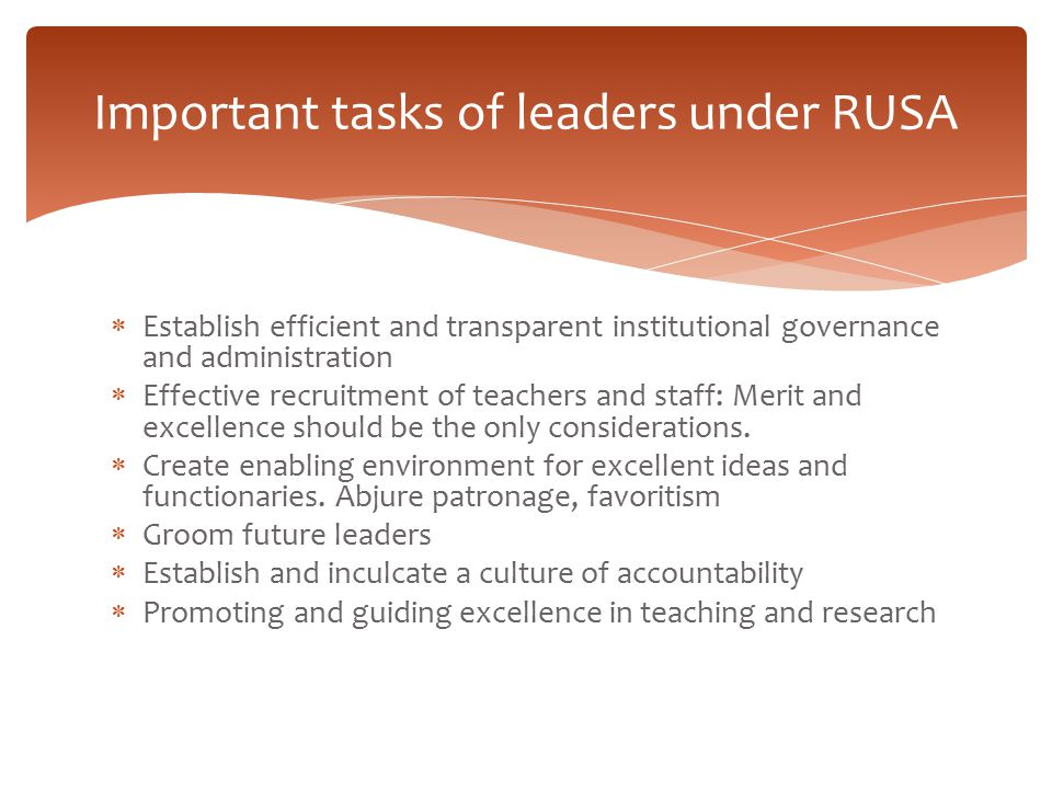 Important tasks of leaders under RUSA