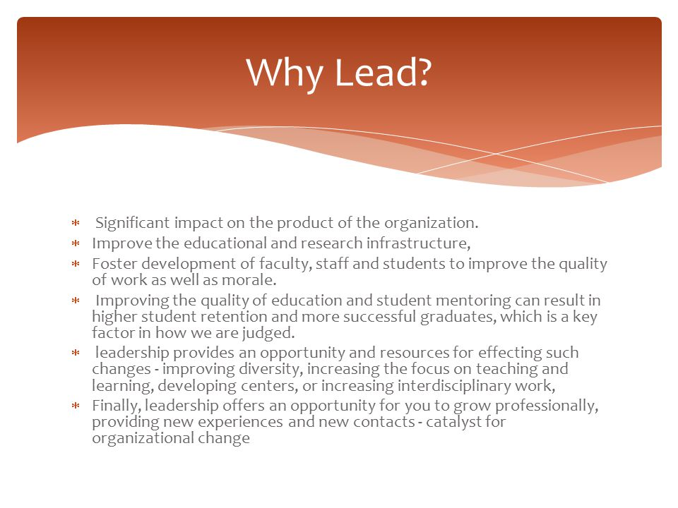 Why Lead Significant impact on the product of the organization.