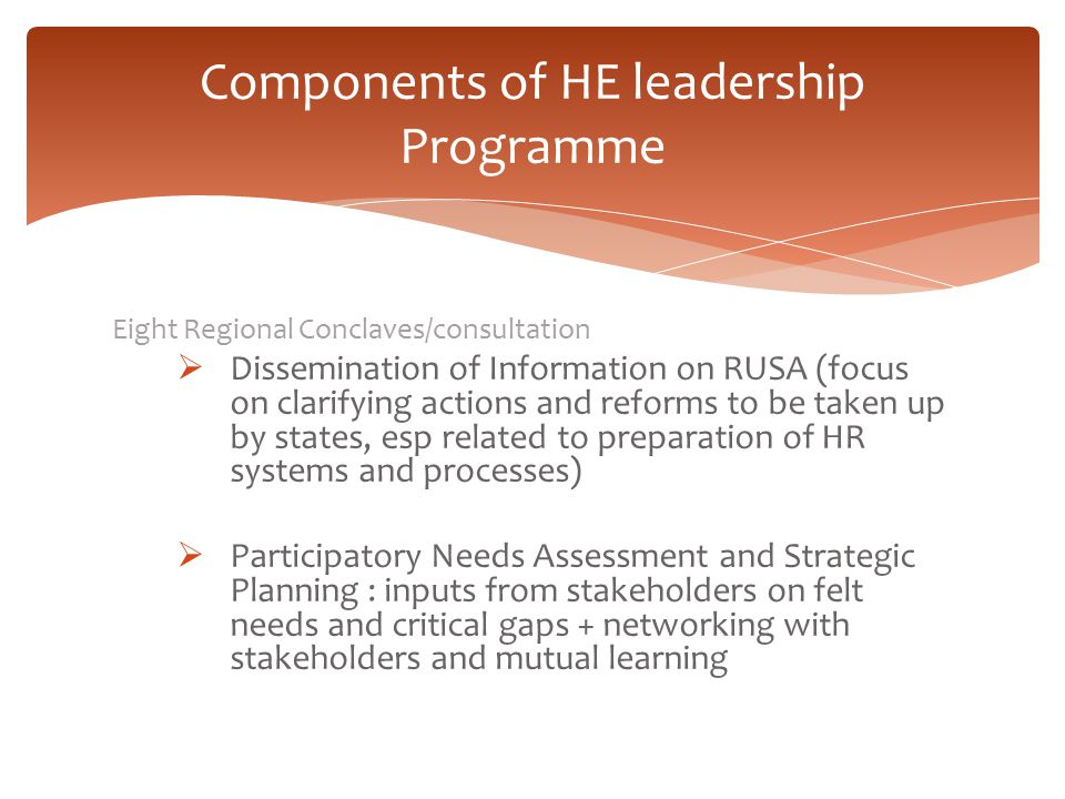 Components of HE leadership Programme