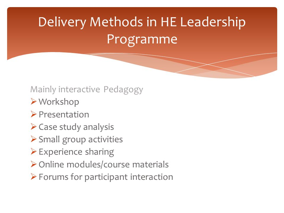 Delivery Methods in HE Leadership Programme