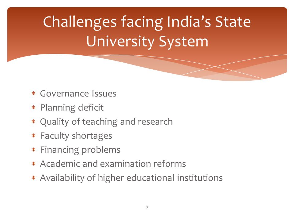 Challenges facing India's State University System