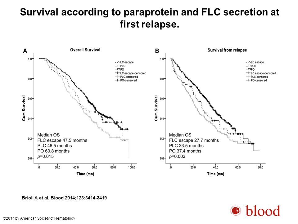 Survival according to paraprotein and FLC secretion at first relapse.