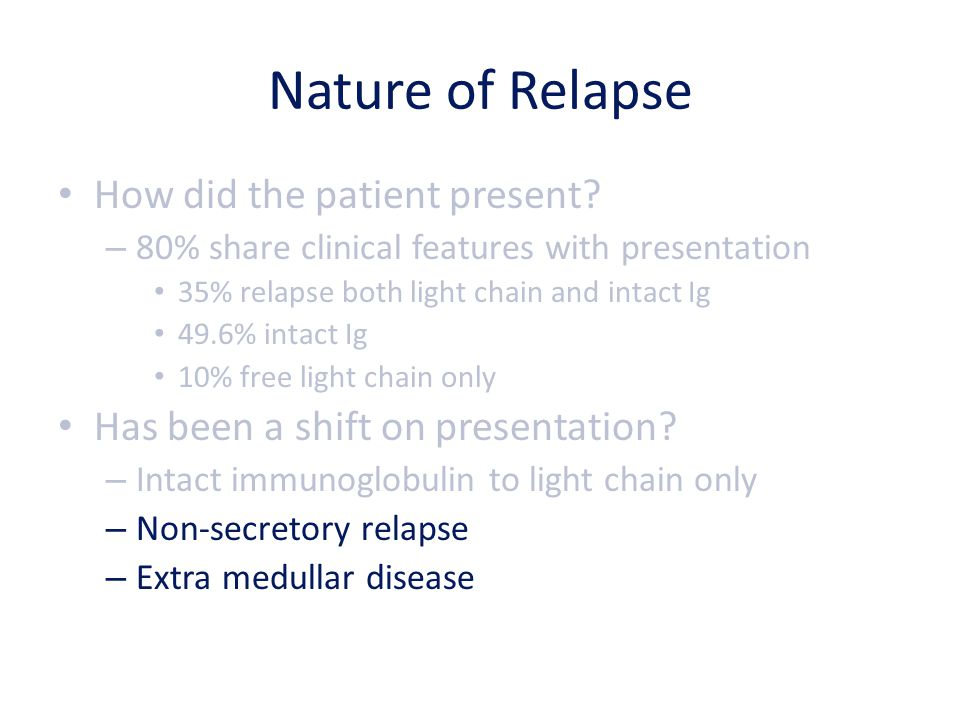 Nature of Relapse How did the patient present