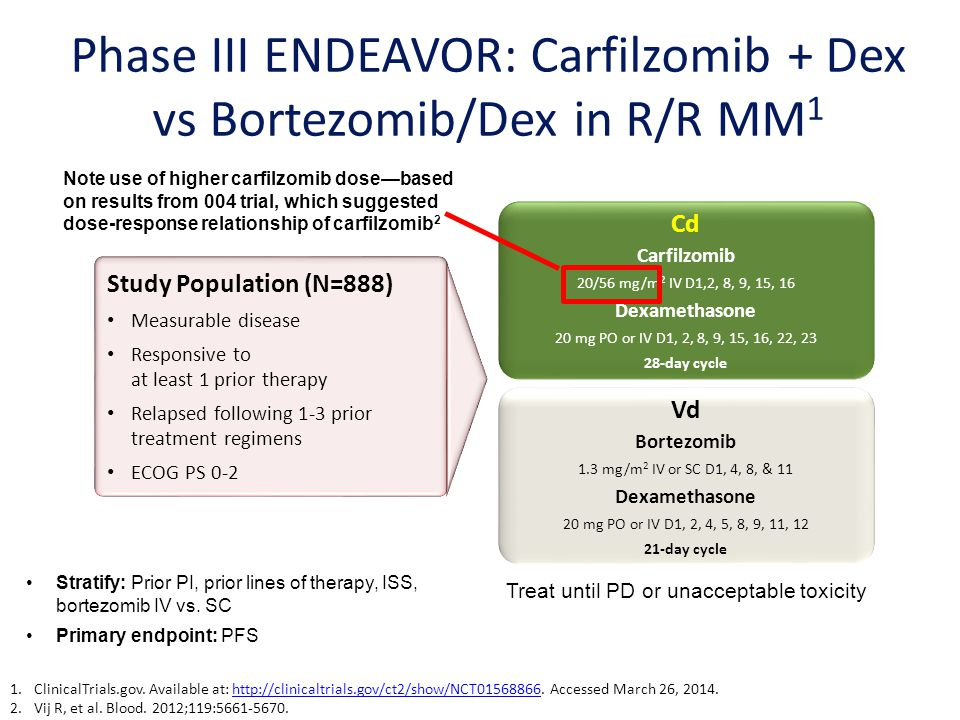 Phase III ENDEAVOR: Carfilzomib + Dex vs Bortezomib/Dex in R/R MM1