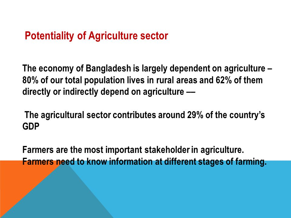 Potentiality of Agriculture sector