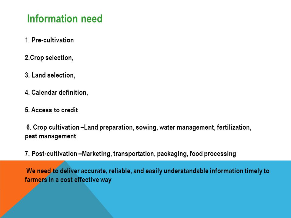 Information need 1. Pre-cultivation 2.Crop selection,