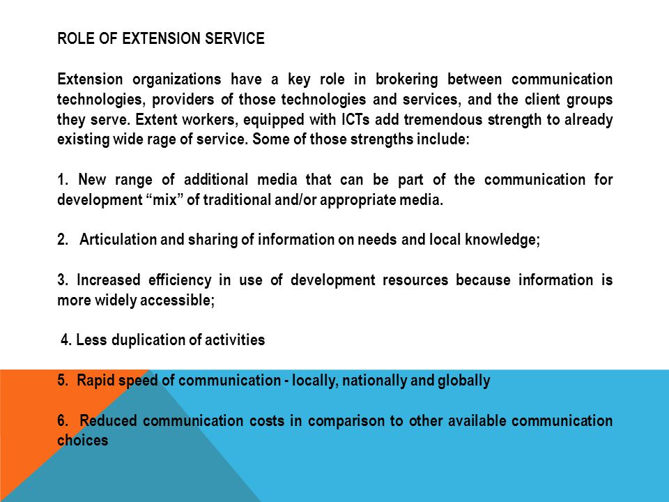 ROLE OF EXTENSION SERVICE