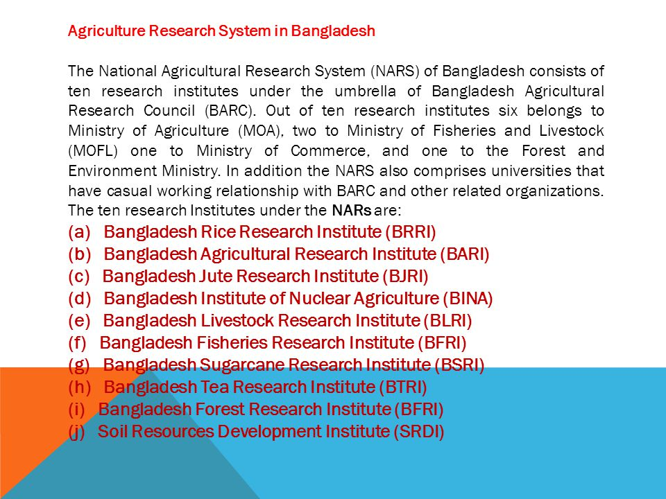 (a) Bangladesh Rice Research Institute (BRRI)