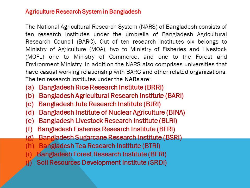 (a) Bangladesh Rice Research Institute (BRRI)