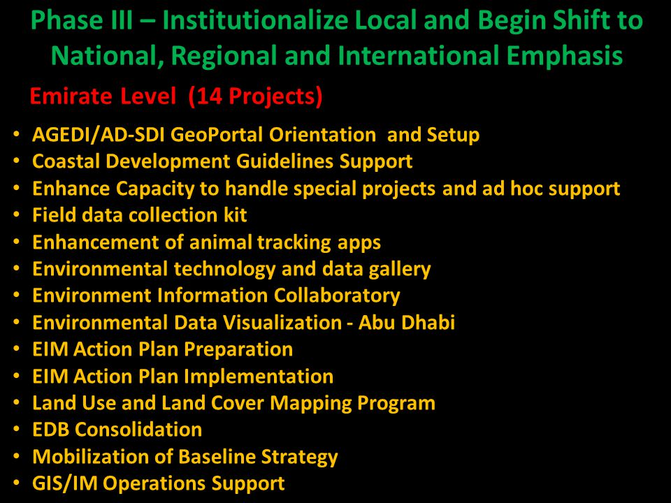 Phase III – Institutionalize Local and Begin Shift to National, Regional and International Emphasis