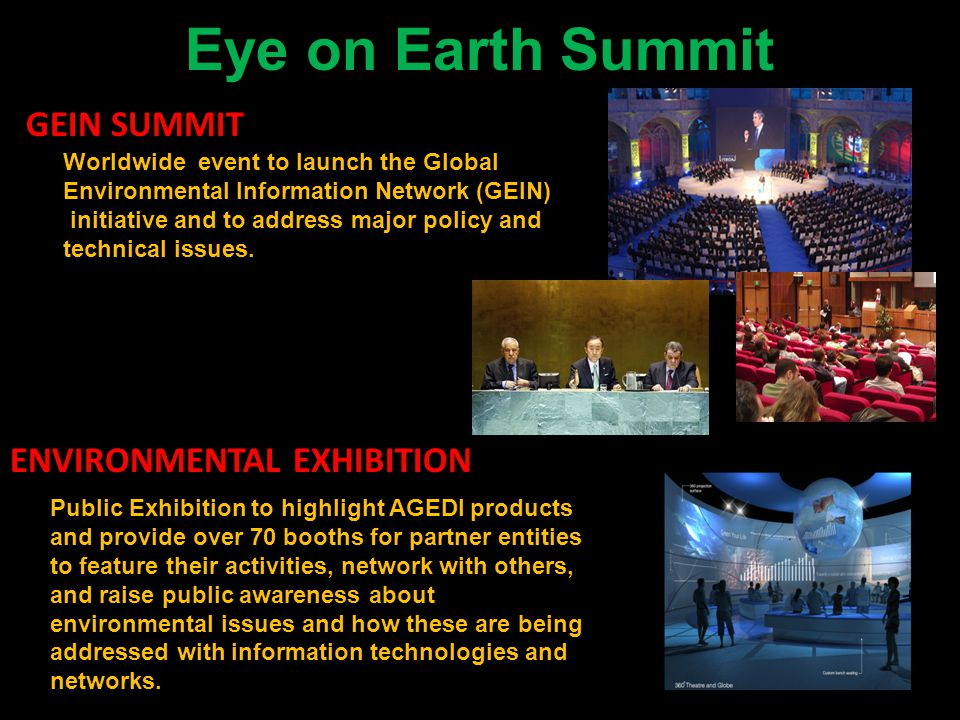 Eye on Earth Summit GEIN SUMMIT ENVIRONMENTAL EXHIBITION