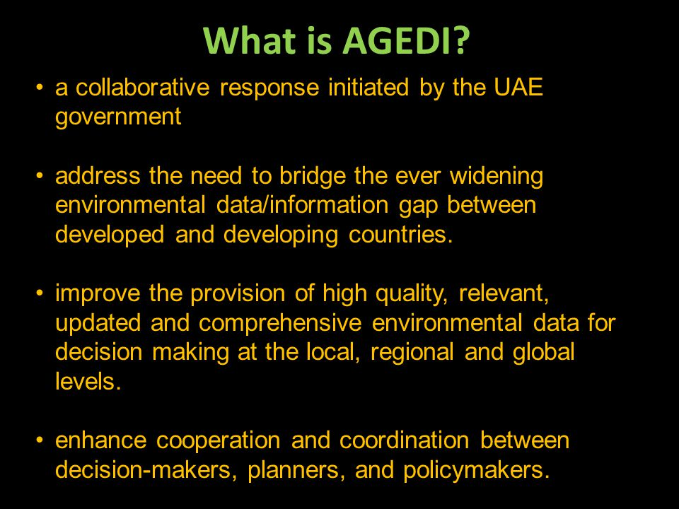 What is AGEDI a collaborative response initiated by the UAE government.