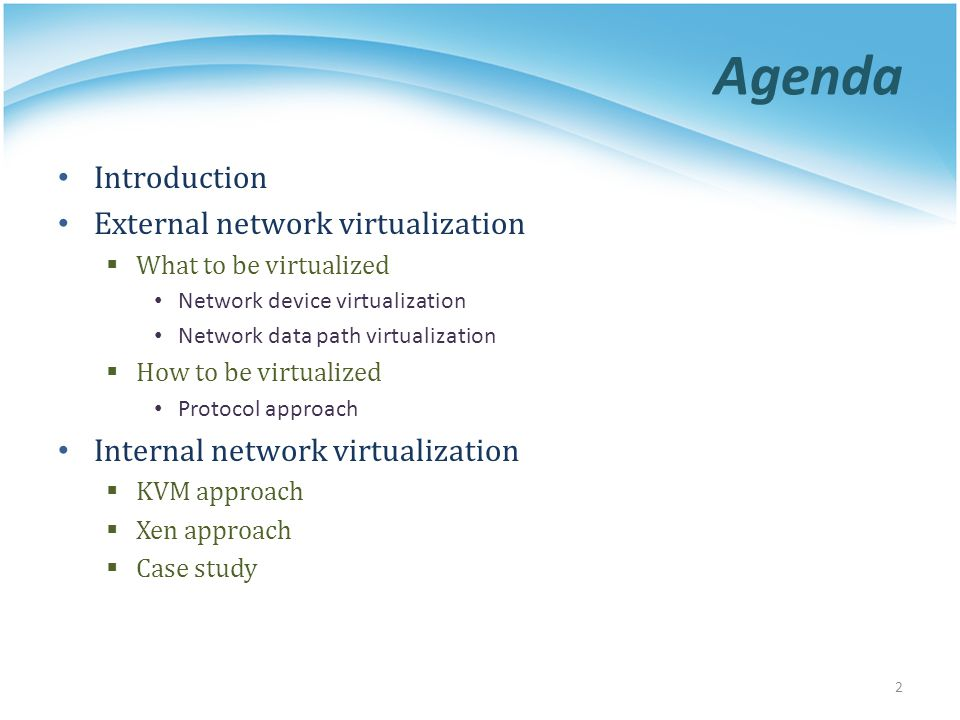 Agenda Introduction External network virtualization