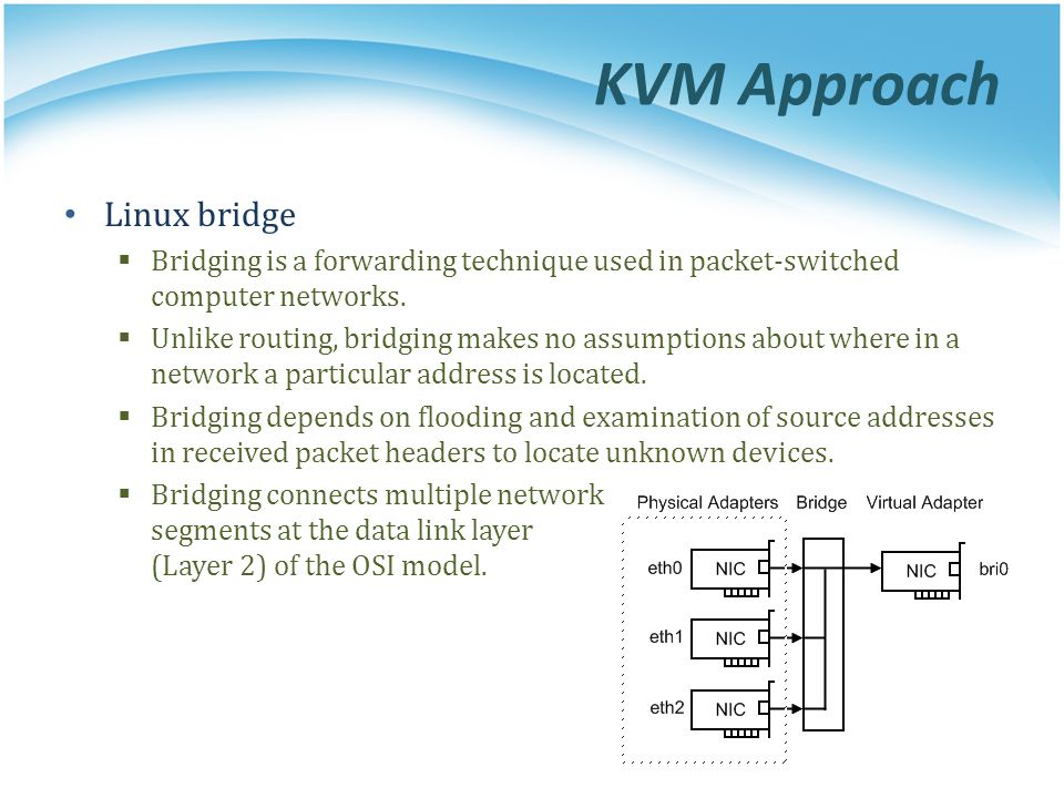 KVM Approach Linux bridge