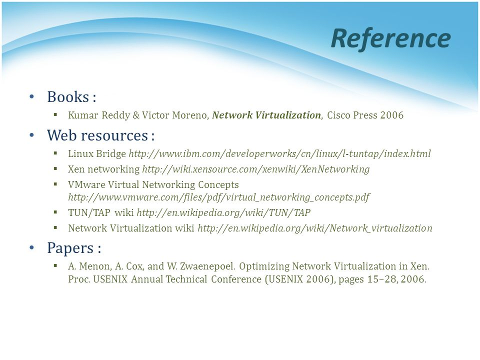 Reference Books : Web resources : Papers :