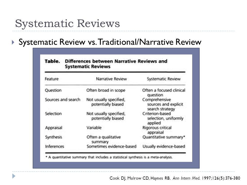 Systematic Reviews Systematic Review vs. Traditional/Narrative Review