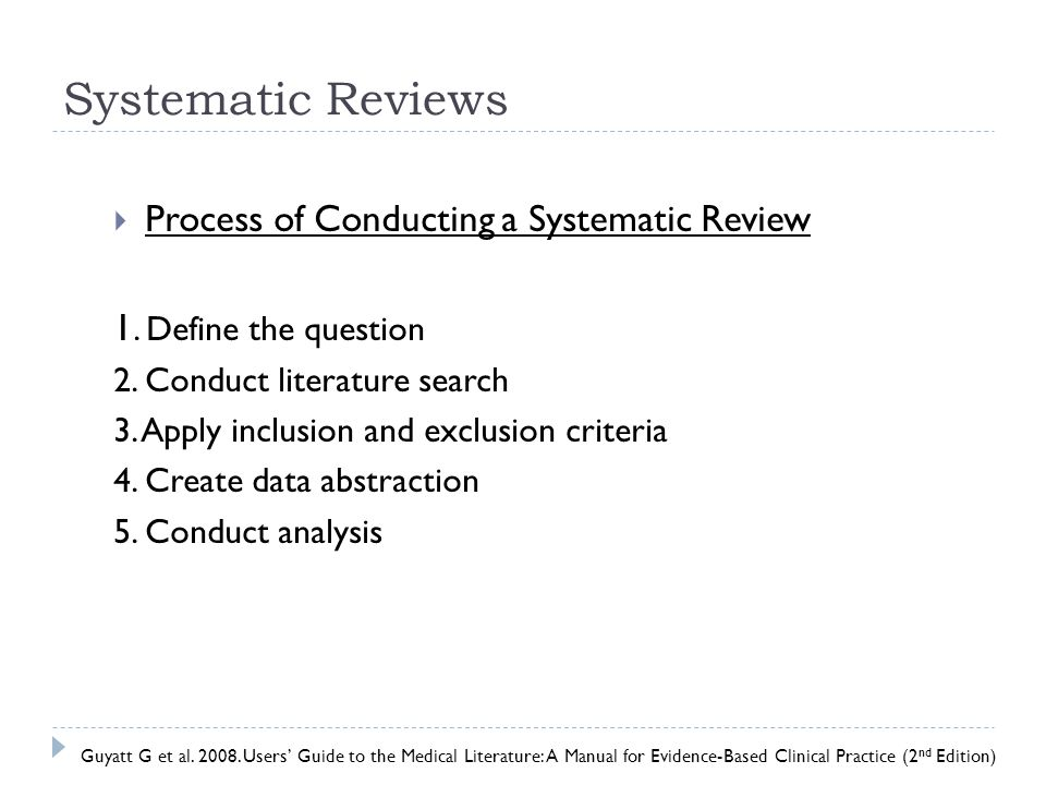 Systematic Reviews Process of Conducting a Systematic Review