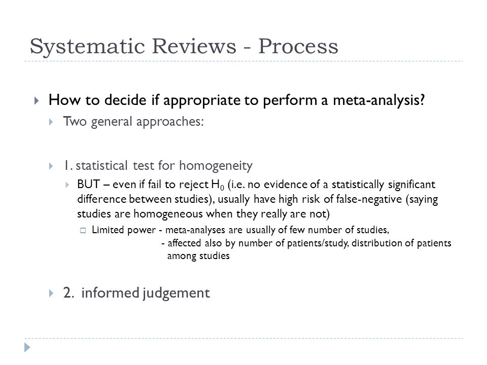 Systematic Reviews - Process
