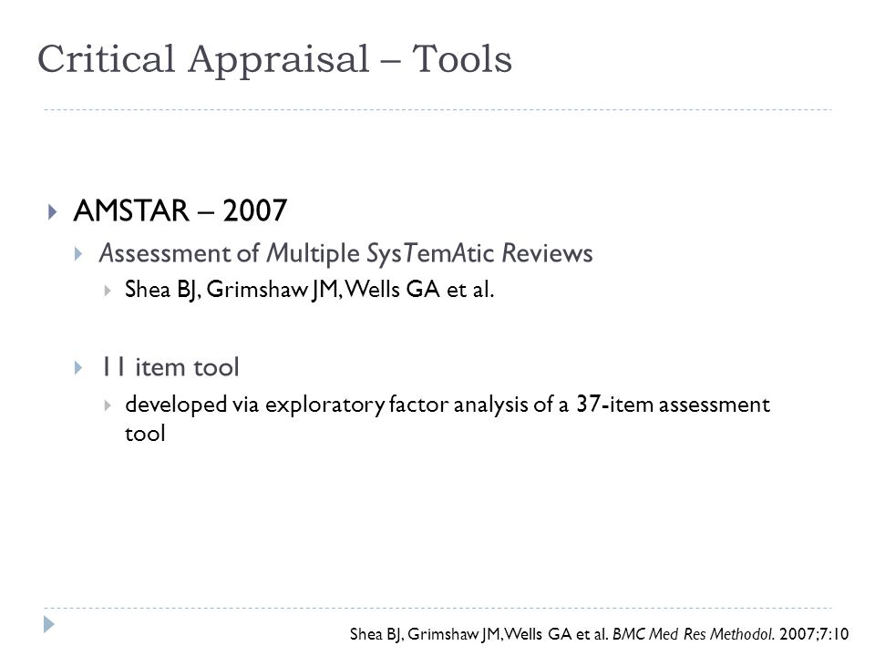 Critical Appraisal – Tools