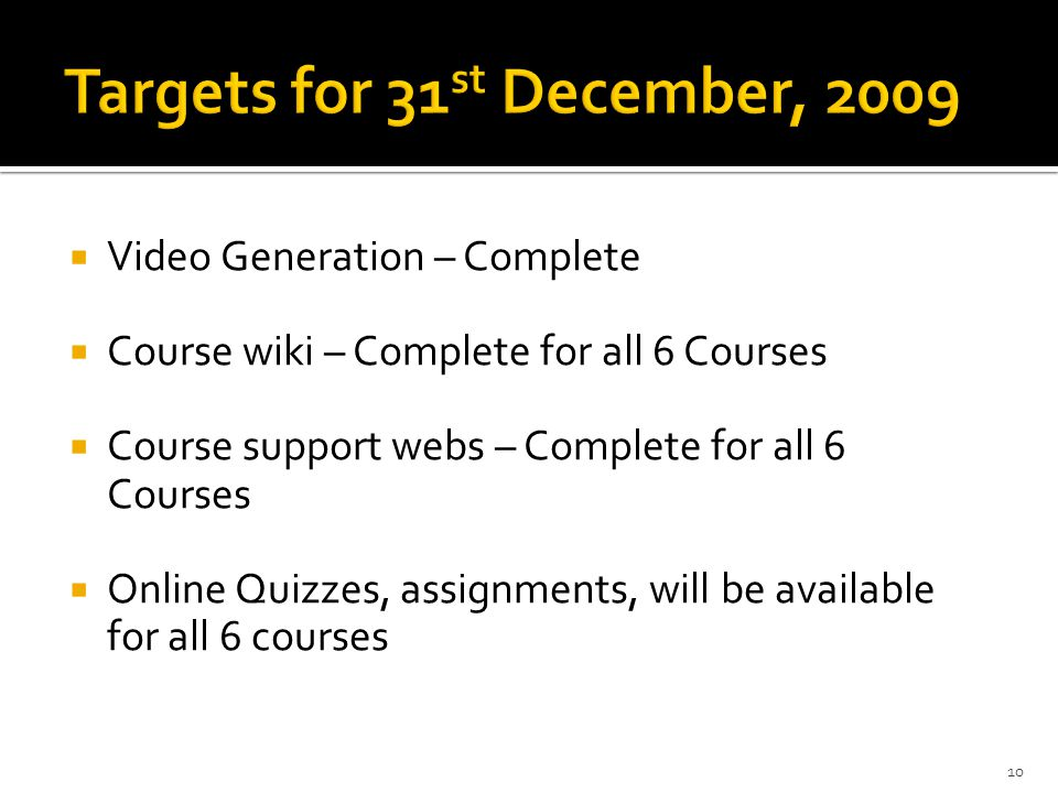 Targets for 31st December, 2009
