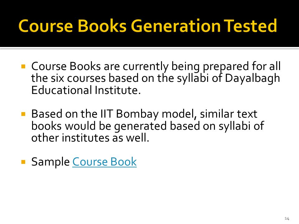 Course Books Generation Tested